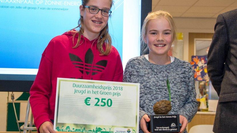 Imke en Sophie winnen Jeugd In Het Groen-prijs voor idee duurzame school
