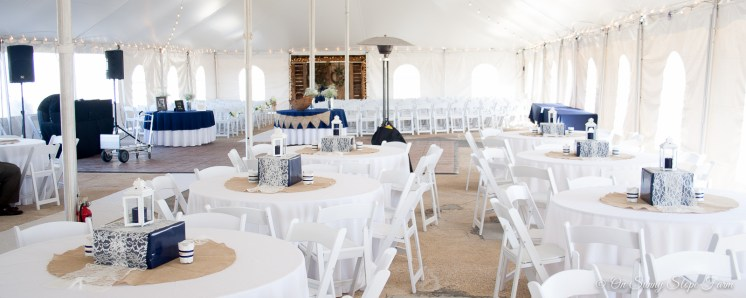 indoor ceremony setup under tent on sunny slope farm-1