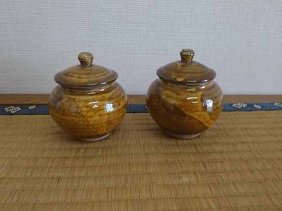 小鹿田焼 1合壷 黄 坂本浩二窯