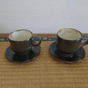 小鹿田焼 カップ&ソーサー 飴 トビ鉋 坂本浩二窯