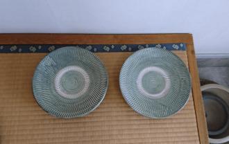 小鹿田焼 8寸皿 うす青