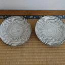 小鹿田焼 6寸皿 白 トビ鉋