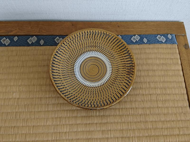 小鹿田焼 6寸皿 黄 トビ鉋