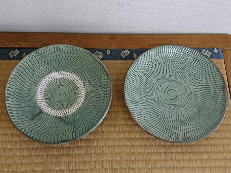 小鹿田焼 7寸皿 うす青 トビ鉋