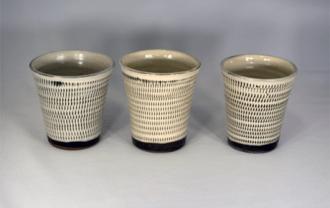 小鹿田焼 フリーカップ 白 トビ鉋 小袋窯