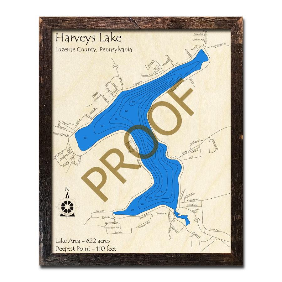 Pa Map Towns Harveys Pa Lake