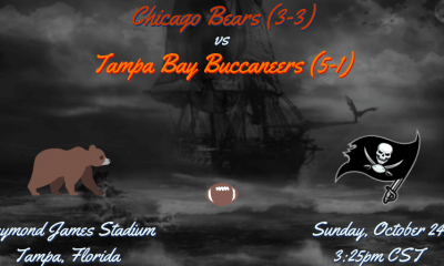 Chicago Bears (3-3) vs Tampa Bay Buccaneers (5-1). 3:25pm CST, Sunday, October 24th at Raymond James Stadium in Tampa, FL.
