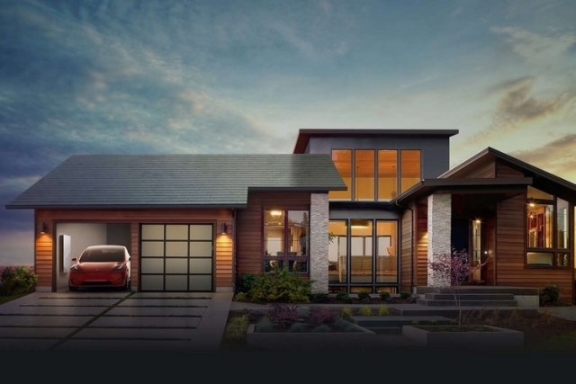 house with tesla roof