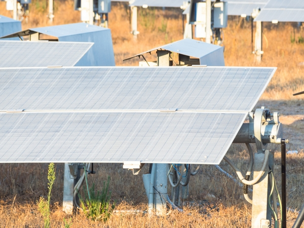 Clean Energy, rows of a photovoltaic panels with Solar Tracker system