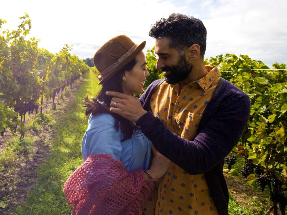 Couple in Niagara vineyard