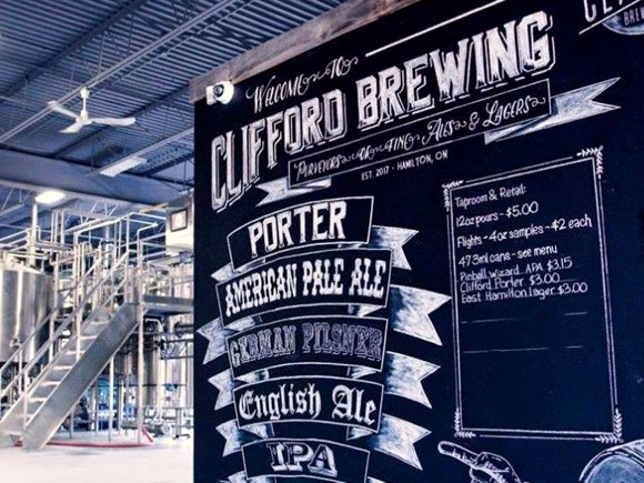 Welcome sign at Clifford Brewing