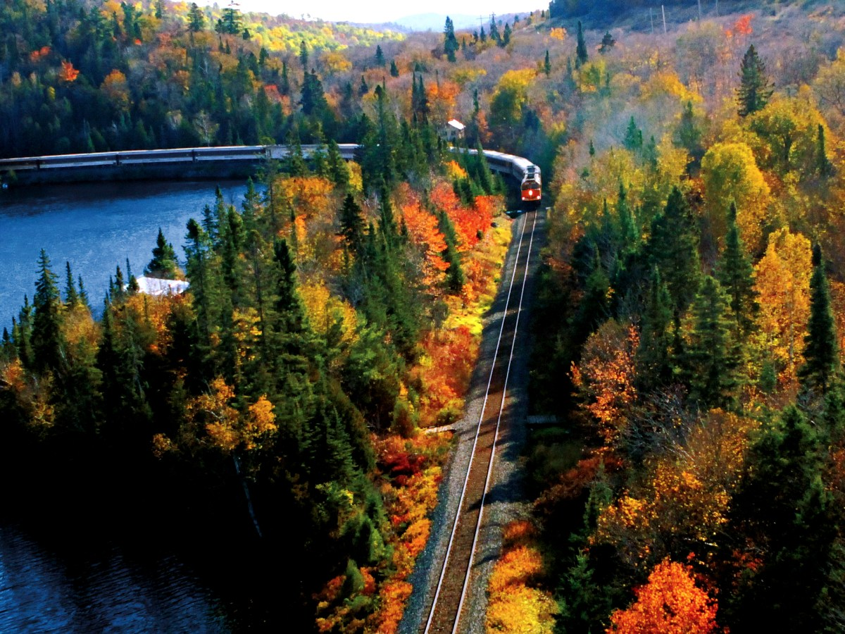 View of the Agawa Canyon Tour Train from above