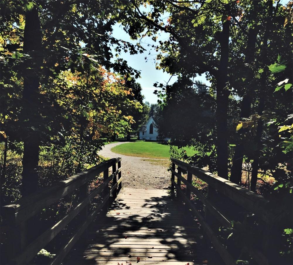 Church and path at Ball's Falls