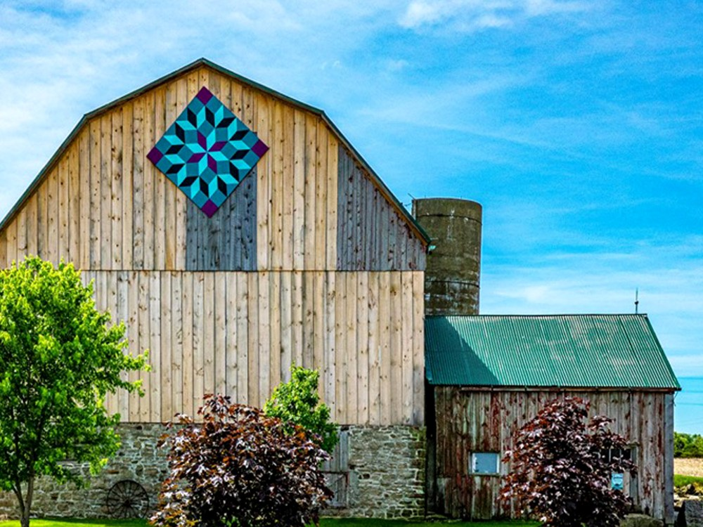 Vivid blue and purple design on rustic barn in Niagara