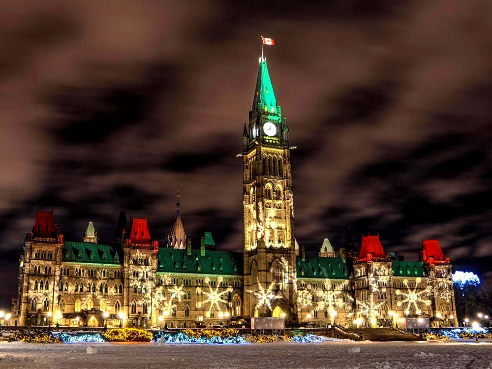 Parliament Hill lit up in Christmas lights and decoration