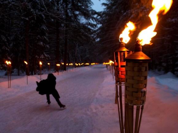 Person skating along the Arrowhead trail