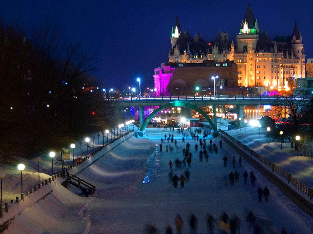 People skating along the Rideau Canal
