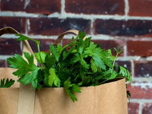 Paper grocery bag with fresh parsley