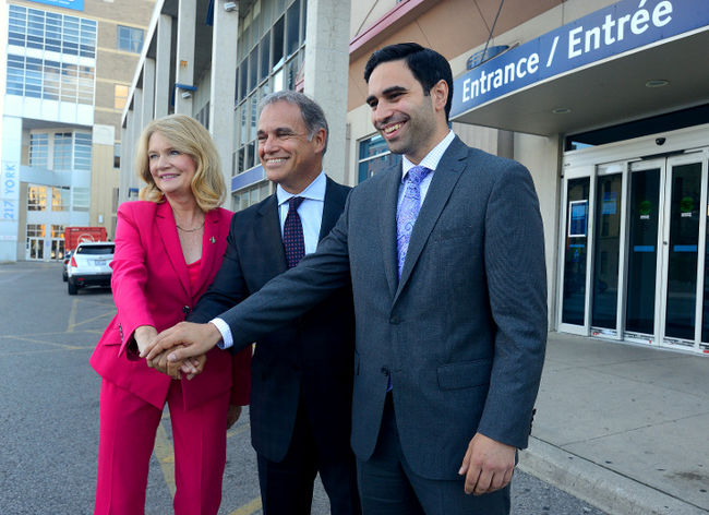 MP Kate Young, left, Via Rail president Yves Desjardins-Siciliano, and MP Peter Fragiskatos announced infrastructure improvements at VIA Rail stations in London and Sarnia on Sept. 12. (MORRIS LAMONT, The London Free Press)