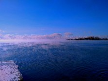 The lake is steaming.