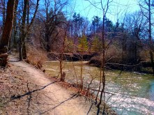 The trail winding along the river bank.