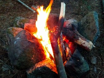 Outdoor cooking fire.