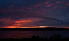 Sunset in Sudbury on the way to Sault Ste. Marie on the first evening.