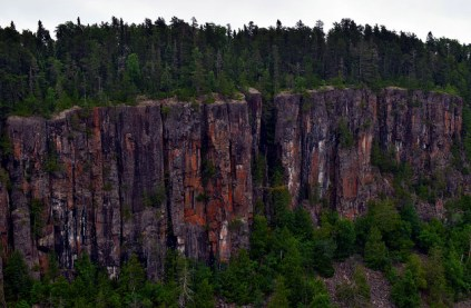 The opposing walls of the canyon.