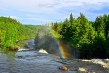A rainbow forms.