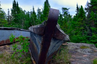 Abandoned boats from the days of POW camps and logging.
