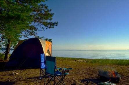 A rare calm moment at our campsite.