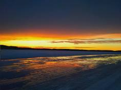 Sunset on the ice road.