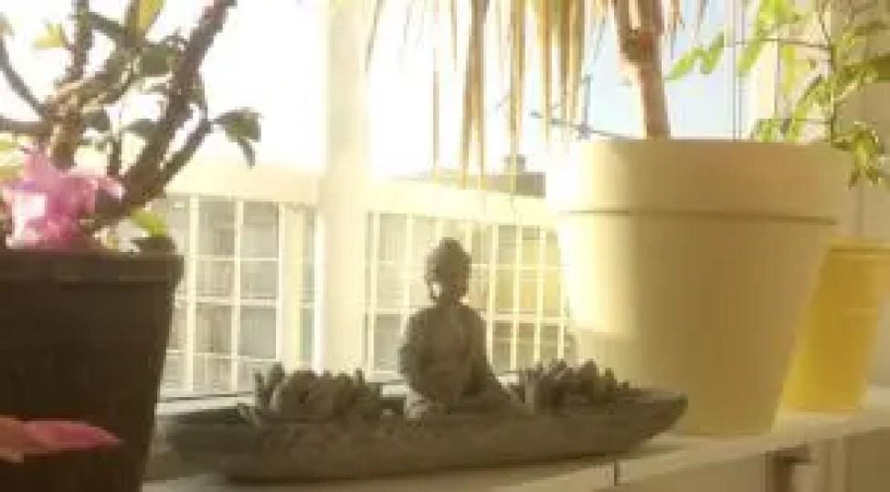 Een buddha beeldje op de vensterbank tussen mooie planten