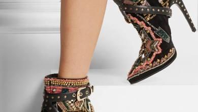 حذاء جلد الغزال مع الخرز