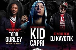 DJ Kid Capri, LA Rams player Todd Gurley & DJ Kayotik at Vine Lounge.