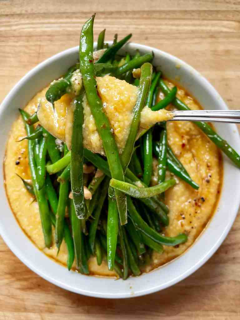 Miso Polenta with ginger and sautéed greens