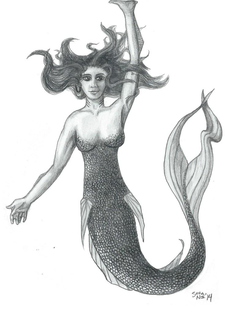 Sirien mermaid Chronicles of Avilesor pencil artwork Sara A. Noe