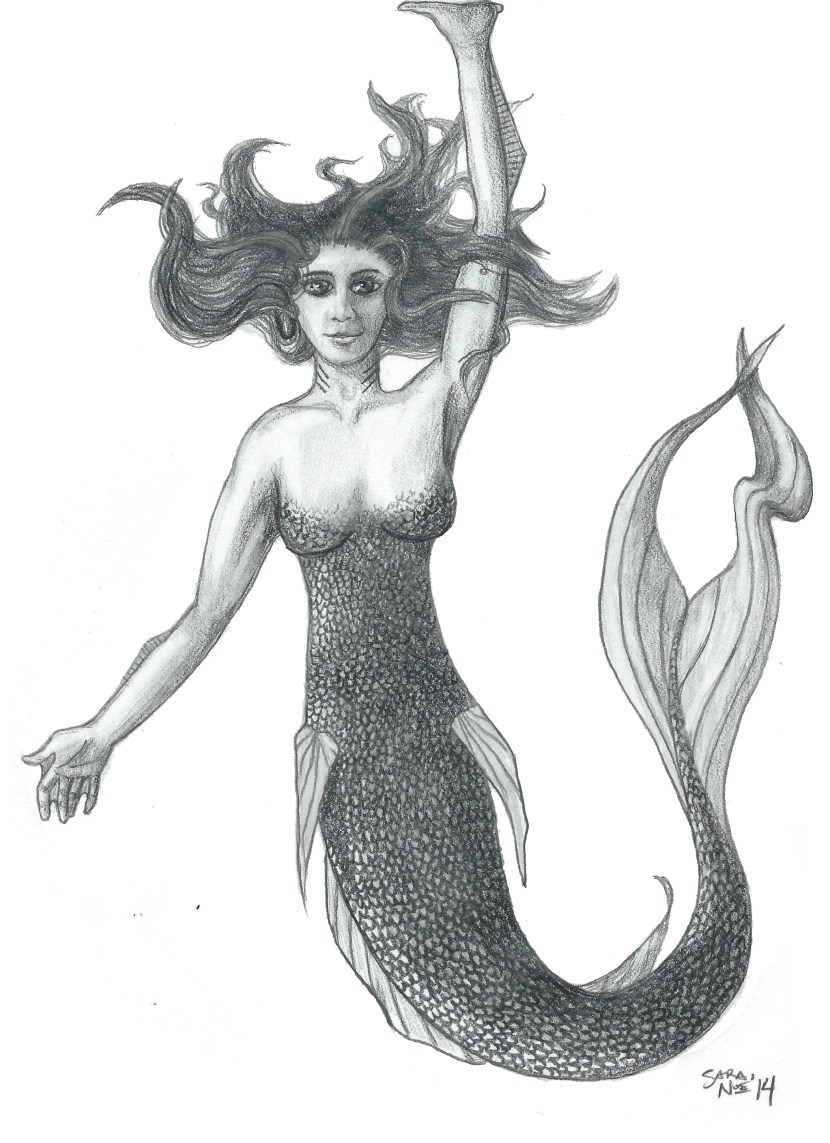 Sirien mermaid Chronicles of Avilesor pencil artwork Sara A. Noe