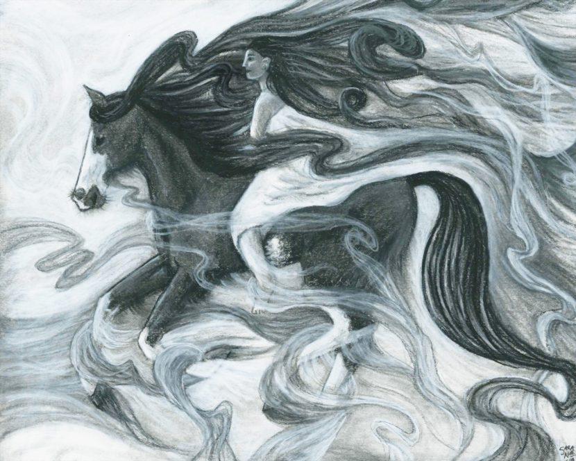 Girl riding horse pencil sketch by Sara A. Noe