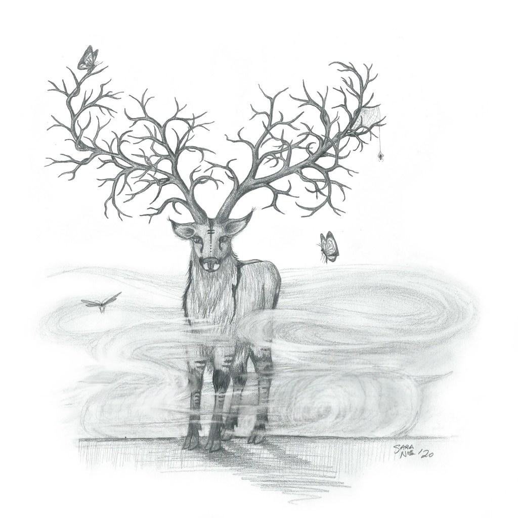 Mystical deer with branching antlers pencil sketch by Sara A. Noe