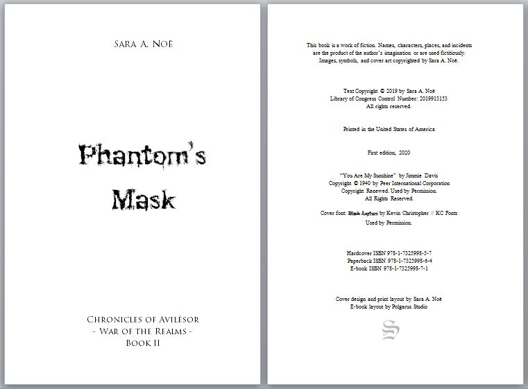 Copyright page of Phantom's Mask by Sara A. Noë