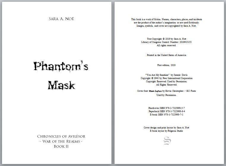 Copyright page of Phantom's Mask by Sara A. Noë