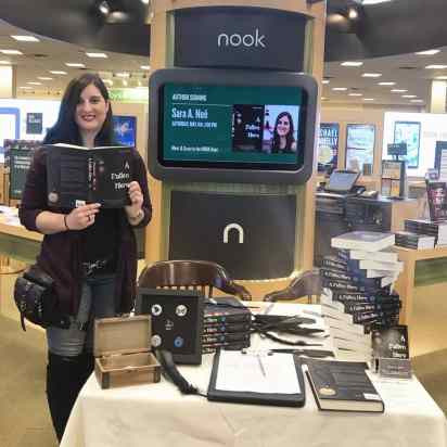 Author Sara A. Noë with her novel A Fallen Hero at Barnes & Noble in Mishawaka, Indiana
