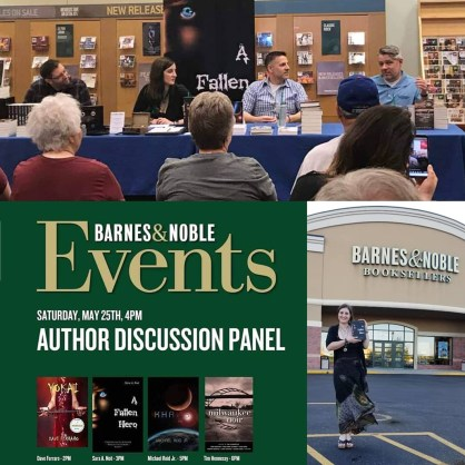 Author Sara A. Noë participating in an author panel with Dave Ferraro, Michael Reid Jr., and editor Tim Hennessy at Barnes & Noble in Racine, Wisconsin