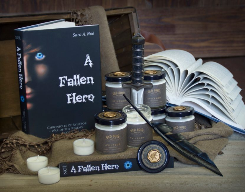 War of the Realms: A Fallen Hero by Sara A. Noe with Old Soul Artisan Avilesor candle