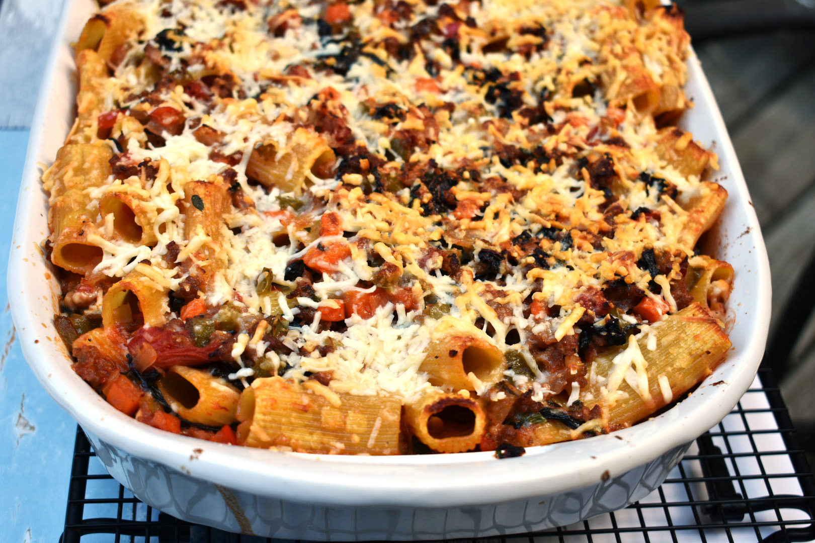 Baked Rigatoni with Sausage and Swiss Chard