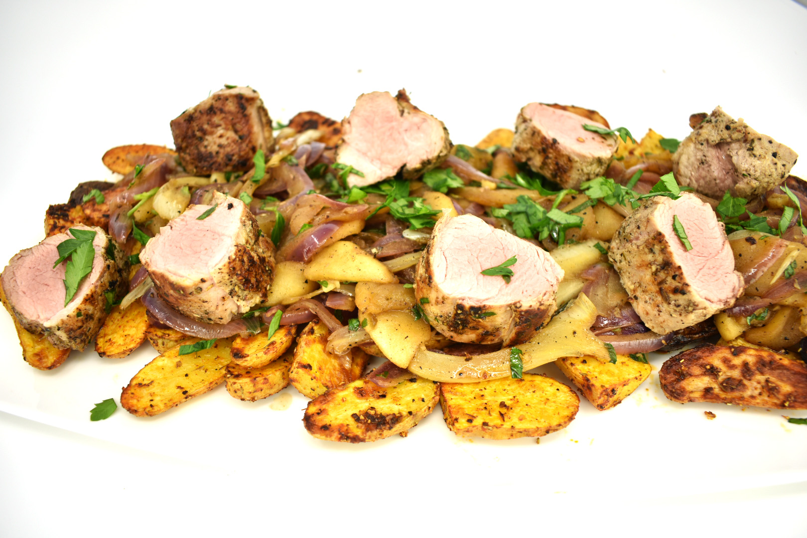 Pork Tenderloin with Apples Red Onion and Fennel