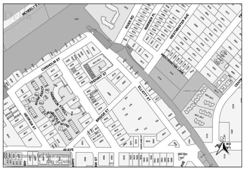 The Townsite Map of Ladner - c. 2020 - There are still many small lots but several key consolidations have occurred as can be seen in the darker shaded sections in the Village.