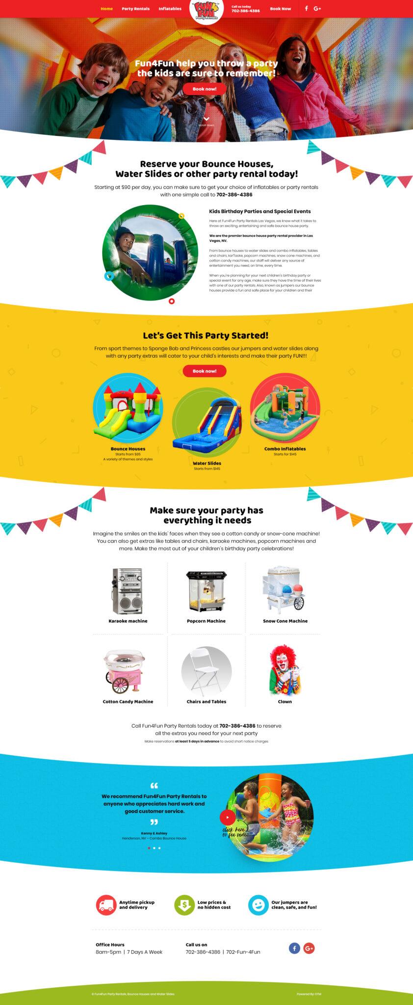 Fun4Fun Party Rentals Web Design