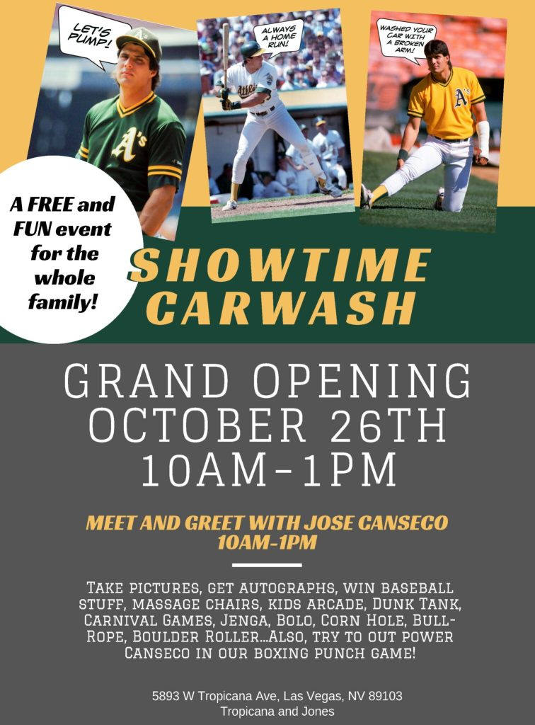 Get Your Tickets for the Red Carpet Grand Opening Meet And Greet with Jose Canseco
